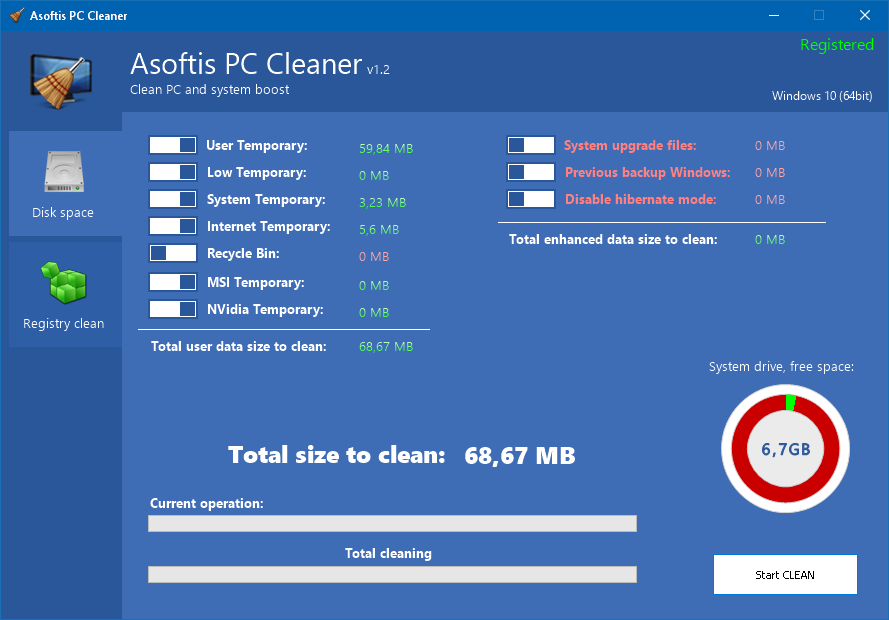 Screenshot of Asoftis PC Cleaner 1.2